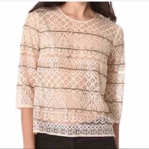 MADEWELL BROADWAY & BROOME beaded lace top